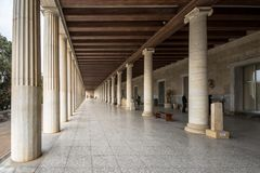 Stoa of Attalos, in the Agora of Athens, Greece. It was built by King Attalos II of Pergamon. Stoa of Attalos, in the Agora of Athens, Greece. It was built by Royalty Free Stock Photography