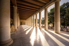 Stoa of Attalos, in the Agora of Athens, Greece. It was built by King Attalos II of Pergamon. Stoa of Attalos, in the Agora of Athens, Greece. It was built by Royalty Free Stock Images
