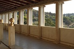 Stoa of Attalos in Ancient Agora, Athens Stock Photos