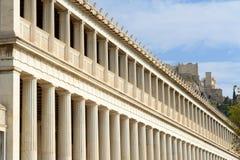 Stoa Attalos, antyczna agora w Ateny Obrazy Royalty Free