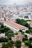Stoa of Attalos, Athens Greece. (Museum of the Ancient Agora and modern Athens behind it Stock Image