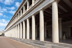 Ancient Agora in Athens. The Stoa of Attalos or Attalus was a stoa in the Ancient Agora of Athens in Greece Royalty Free Stock Photo