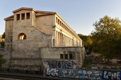 Stoa of Attalos. This is a Fall picture of the Stoa of Attalos located in the Agora of Athens, Greece.  The Stoa was built by King Attalos before 138 BC.  The Stock Image