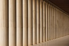 Stoa of Attalos marble colonnade and ceiling Stock Image