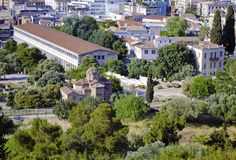 Stoa of Attalos and an old church Royalty Free Stock Photos