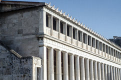 Stoa of Attalos. Typical of the Hellenistic age, the stoa was more elaborate and larger than the earlier buildings of ancient Athens. The stoa`s dimensions are Royalty Free Stock Photography