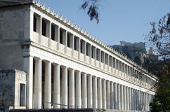 Stoa of Attalos. Typical of the Hellenistic age, the stoa was more elaborate and larger than the earlier buildings of ancient Athens. The stoa`s dimensions are Stock Photo