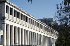 Stoa of Attalos. Typical of the Hellenistic age, the stoa was more elaborate and larger than the earlier buildings of ancient Athens. The stoa`s dimensions are Stock Images