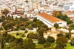 Stoa Attalos z pejzażem miejskim w Ateny, Grecja Zdjęcie Stock