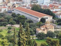 Stoa of Attolos. Ancient Agora, Athens, Greece, view from Acropolis hill Stock Photo