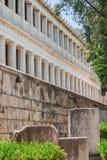 Stoa av Atalos i den forntida marknadsplatsen av Aten, Grekland Arkivbild