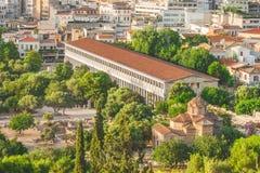 Stoa av Atalos i den forntida marknadsplatsen av Aten, Grekland Arkivfoto
