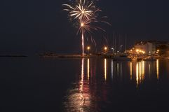 Stobrec, Chorwacja, marina przy nocą, fajerwerki zdjęcia royalty free