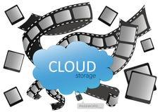 Stoccaggio della nuvola per progettazione, sito Web, fondo, insegna Salvo la vostri foto e video sul server in Internet illustrazione di stock