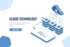 Stoccaggio di tecnologia della nuvola e dati di trasferimento isometrici, caricamento di programmi oggetto di dati del telefono c royalty illustrazione gratis