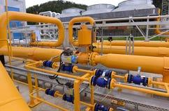 Stoccaggio e conduttura di gas in Ihtiman, ot ottobre della Bulgaria 13, 2015 Fotografie Stock