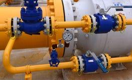 Stoccaggio e conduttura di gas in Ihtiman, ot ottobre della Bulgaria 13, 2015 immagini stock