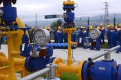 Stoccaggio e conduttura di gas in Ihtiman, ot ottobre della Bulgaria 13, 2015 Fotografia Stock