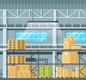 Stoccaggio interno con le merci, carro armato, scatola sullo scaffale illustrazione vettoriale