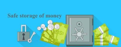 Stoccaggio sicuro di progettazione dei soldi piano Fotografia Stock
