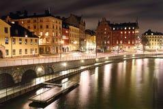Stoccolma alla notte fotografia stock libera da diritti