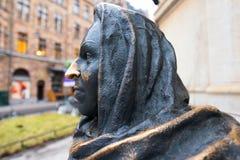 STOCCOLMA - 18 DICEMBRE: Dettaglio della statua che descrive l'attrice Marga Fotografie Stock