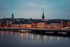 Stoccolma entro Night fotografia stock libera da diritti