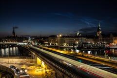 Stoccolma entro Night fotografie stock libere da diritti