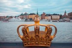 stoccolma Immagine di paesaggio urbano di Stoccolma corona sulla priorità alta Fotografia Stock Libera da Diritti