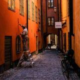 Stoccolma, Svezia, restauratori alla vecchia città Fotografia Stock Libera da Diritti