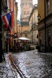 Stoccolma, Svezia, turisti in un caffè dopo pioggia Fotografie Stock