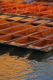 Stocherkähne angekoppelt am Flussufer in Cambridge Stockbilder