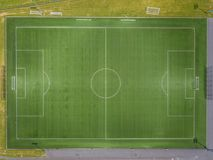 Aerial view of football field royalty free stock photos