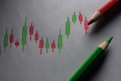 Stock analysis candlestick stock photography