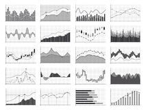 Stock analysis graphics or business data financial charts  on white background. Chart and graph, financial diagram growth and progress, vector illustration Royalty Free Stock Image