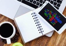 Stock Analysis word cloud arrangement concept on smartphone stock photos