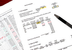 Stock analysis workpapers Stock Images