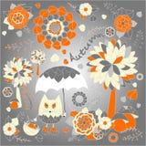 Stock  autumn background with cartoon cat, umbrella, tree Stock Photos