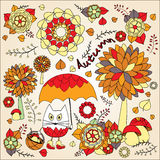 Stock  autumn background with cartoon cat, umbrella, tree Royalty Free Stock Photo