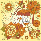 Stock  autumn background with cartoon cat, umbrella, tree Royalty Free Stock Images