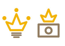 Stock avatars. Stock Illustrator user icon: light bulb + crown. Stock photographer: camera + crown Stock Image