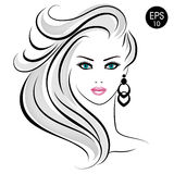 Stock blonde Woman. Beauty Girl Portrait with blonde hair and blue eyes. For your design Stock Photo
