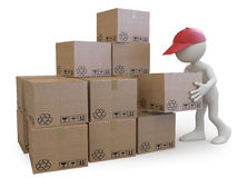 Stock boy stacking cardboard boxes royalty free illustration