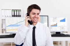 Stock broker in a bull market Stock Photo
