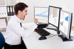 Stock broker trading in a bull market Royalty Free Stock Image