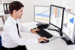 Stock broker trading in a bull market Royalty Free Stock Photos