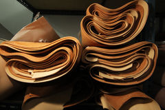 Stock of brown Leather selection / stock of leather in textile manufacturing Royalty Free Stock Images