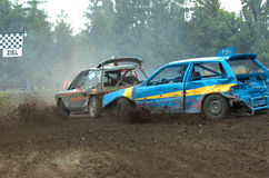 Stock car race. During a stock car competition at bad weather stock photos