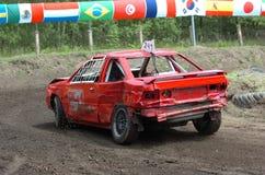 Stock car race. Old red car at stock car race stock photo