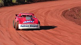 Stock cars during a dirt track race Royalty Free Stock Images